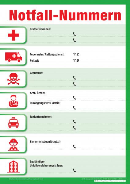 Aushang Notfall-Nummern