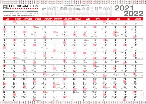 Schuljahreswandplaner Ausgabe 2021/2022