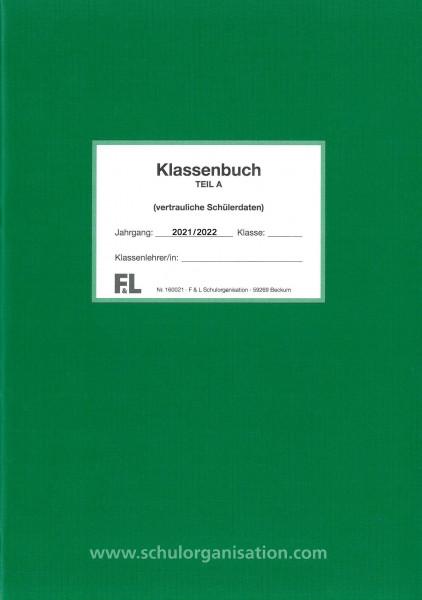Schülerdaten Gymnasium Klassenbuch Teil A 2021/2022