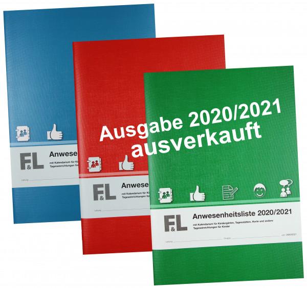 Anwesenheitsliste mit Kalendarium Ausgabe 2020/2021