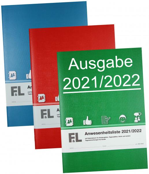 Anwesenheitsliste mit Kalendarium Ausgabe 2021/2022